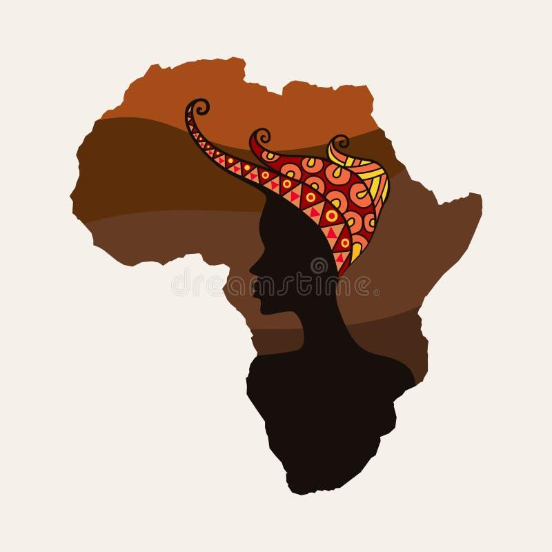 Afryka kobiety i kontynentu sylwetki royalty ilustracja