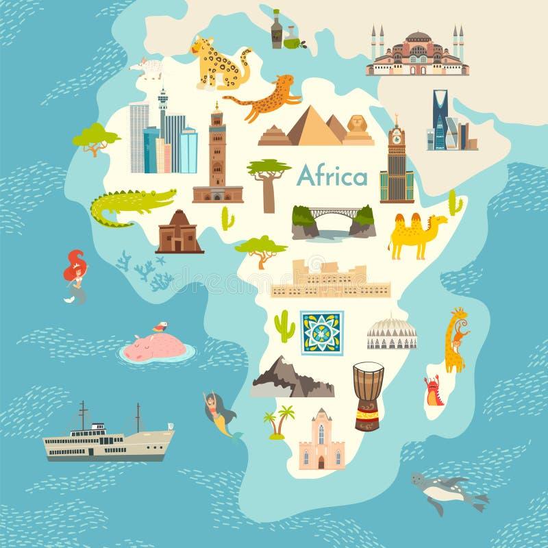 Afryka kontynent, światowa mapa z punkt zwrotny kreskówki wektorową ilustracją ilustracja wektor