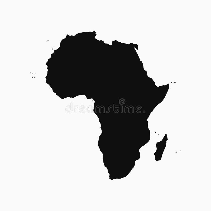 Afryka kontynent - mapa Monochromatyczny kształt wektor ilustracji