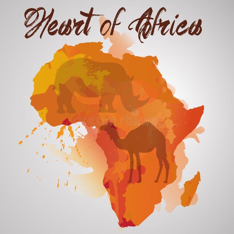 Afryka kontynent z koloru pluśnięciem ilustracji