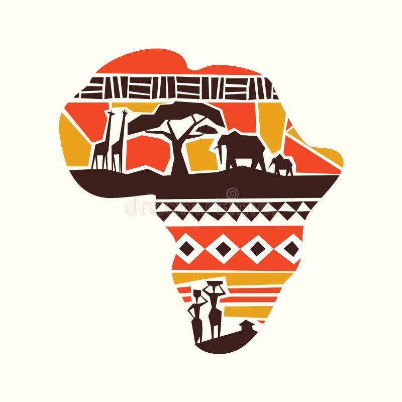 Afryka kontynentu sztuki mapy plemienny pojęcie ilustracji