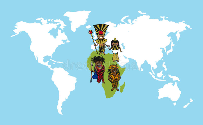 Afryka kreskówek światowej mapy różnorodności illustr ludzie ilustracja wektor