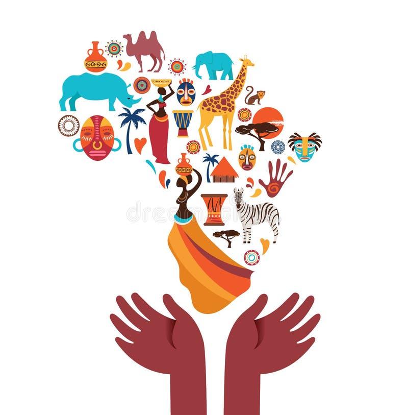 Afryka mapa ilustrująca z zwierzę ikonami, plemienni symbole 10 tło projekta eps techniki wektor