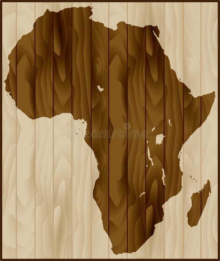 Afryka mapa na drewnianym tle ilustracja wektor