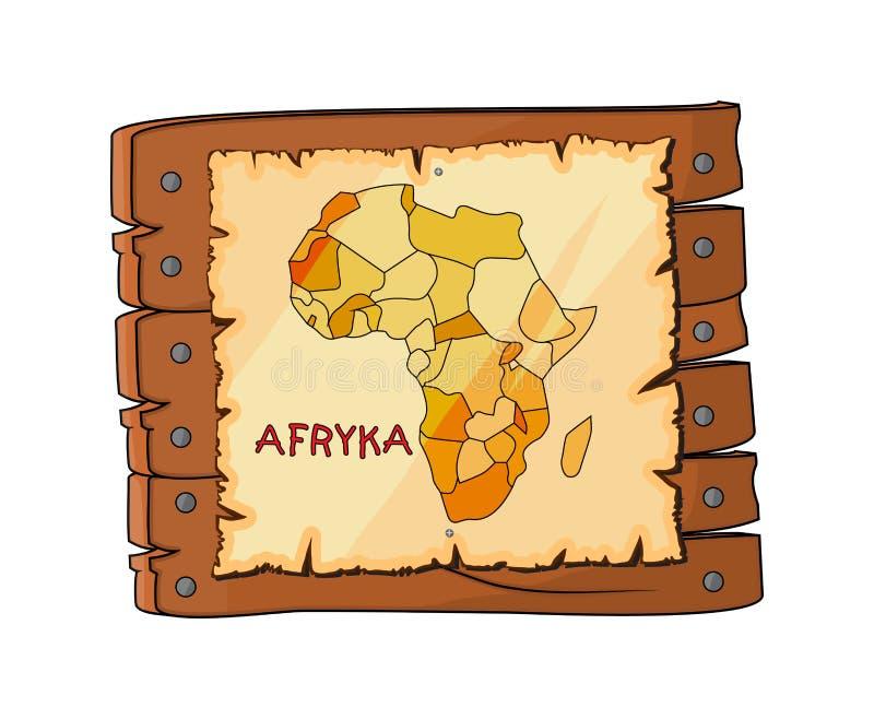 Afryka mapa na drewnianym znaku, półkowa kreskówka odizolowywająca na białym backg