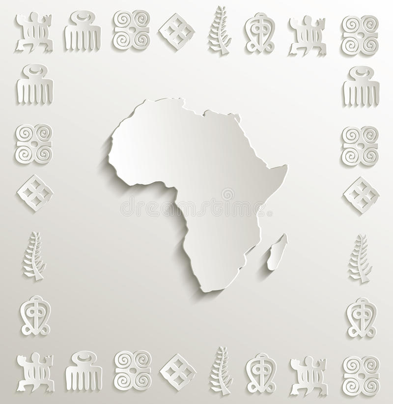 Afryka mapy symbolu ramy papier 3D ilustracja wektor