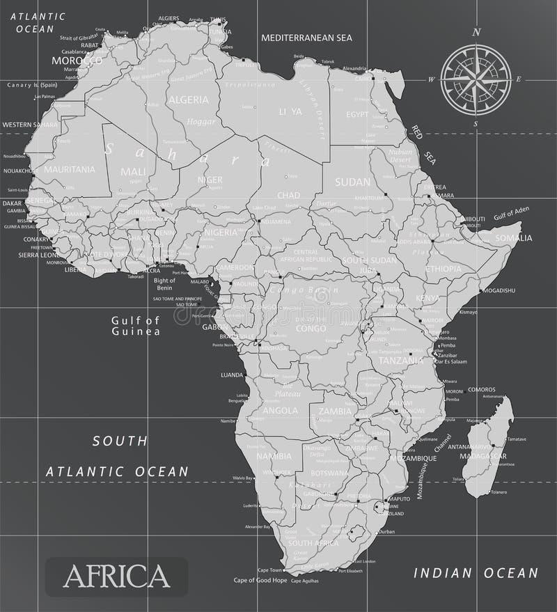 Afryka minimalna mapa z ciemnymi kolorami royalty ilustracja