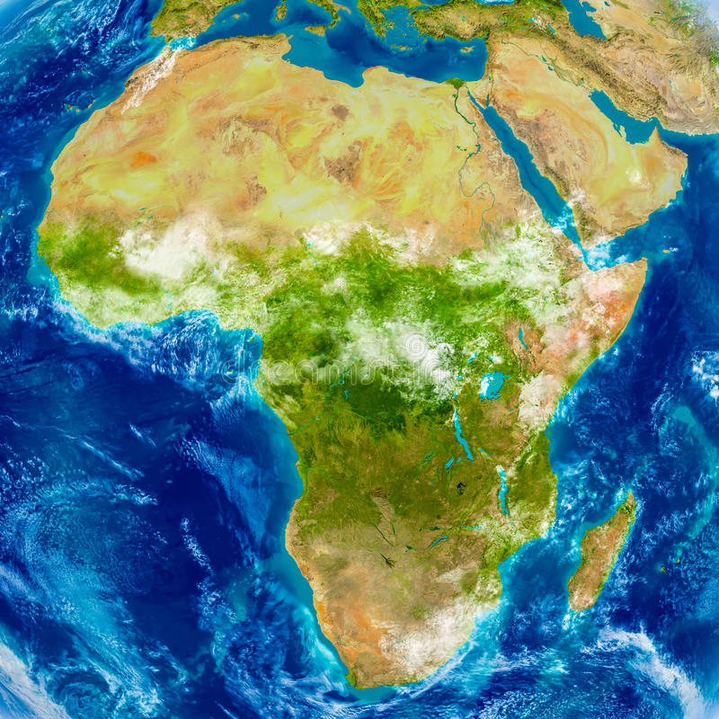 Afryka na fizycznej mapie ilustracja wektor