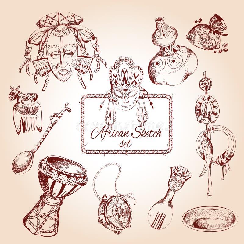 Afryka nakreślenia ikony ustawiać ilustracja wektor