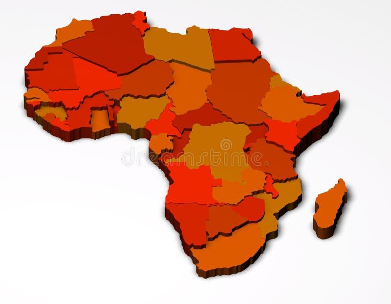 Afryka polityczna mapa 3D ilustracji