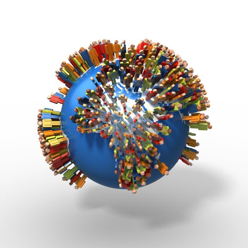 Afryka populacja, Światowa kula ziemska z stylizowanymi ludzkimi postaciami, Afryka ilustracja wektor