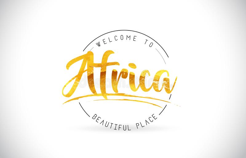 Afryka powitanie Formułować tekst z Ręcznie pisany chrzcielnicą i Złotym Tex ilustracji