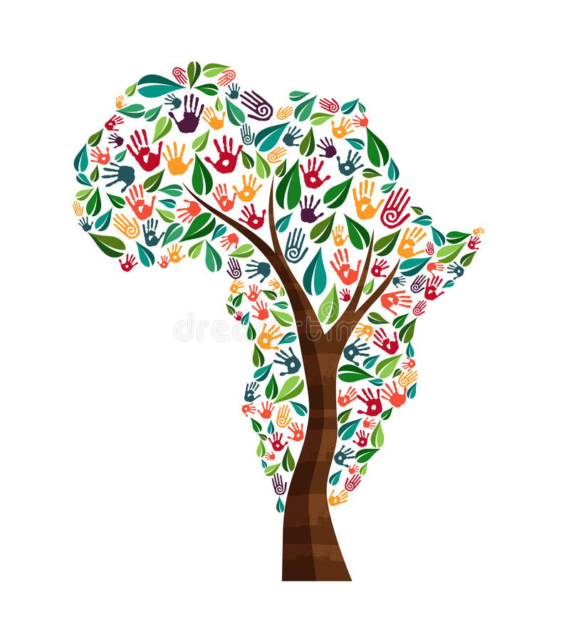 Afryka ręki druku drzewny symbol dla światowej pomocy royalty ilustracja