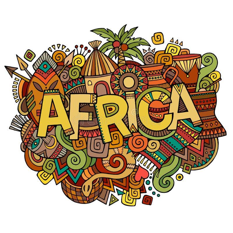 Afryka ręki literowanie i doodles elementy