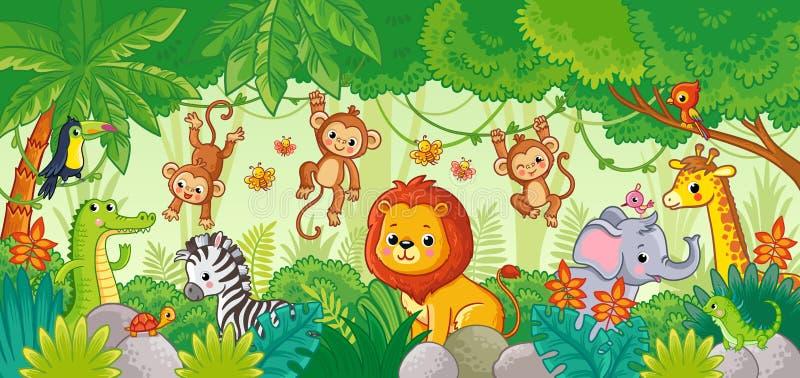 Afryka?scy zwierz?ta w d?ungli ?liczna zwierz? kresk?wka ilustracji