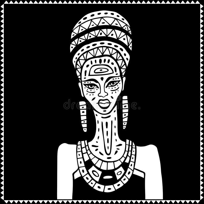 Download Afrykański portret kobiety ilustracja wektor. Ilustracja złożonej z hairball - 57668295