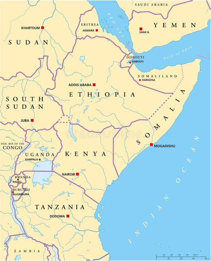Afryka Wschodnia Polityczna mapa ilustracji