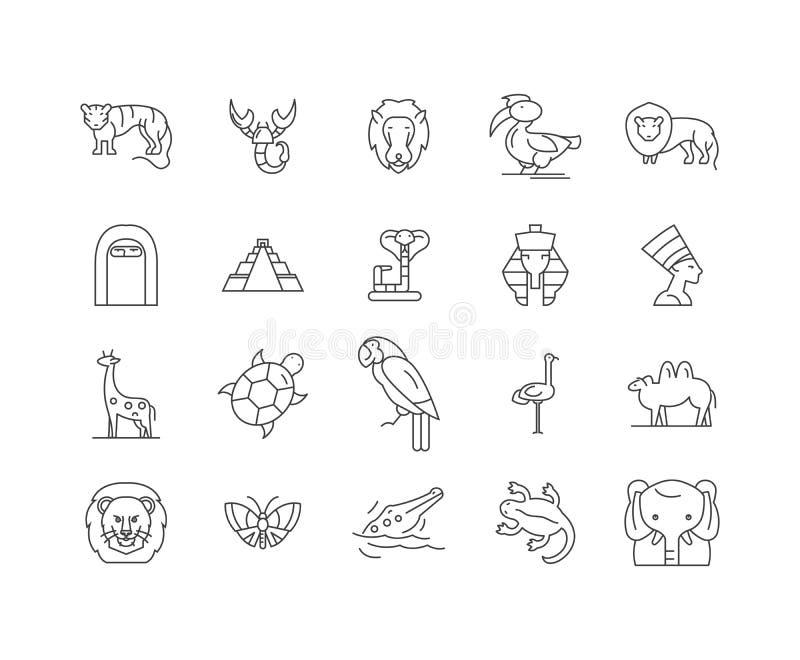 Afryka wykłada ikony, znaki, wektoru set, kontur ilustracji pojęcie ilustracja wektor