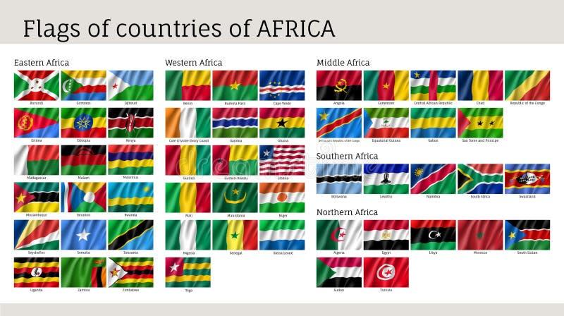 Afryka zaznacza dużego set ilustracja wektor