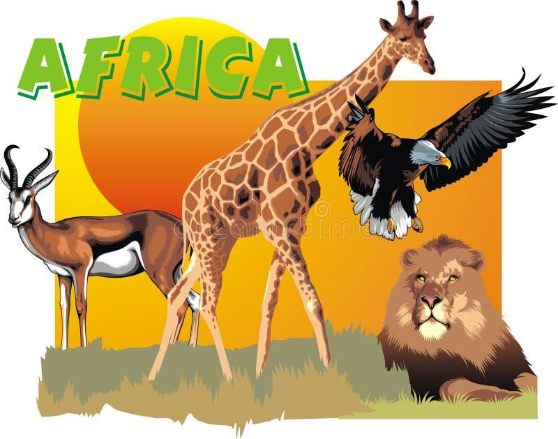 Afryka zwierzęta jako zoo sztandar royalty ilustracja