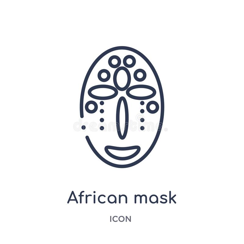 Afrykanin maskowa ikona od muzealnej kontur kolekcji Cienka kreskowa afrykanin maski ikona odizolowywająca na białym tle royalty ilustracja