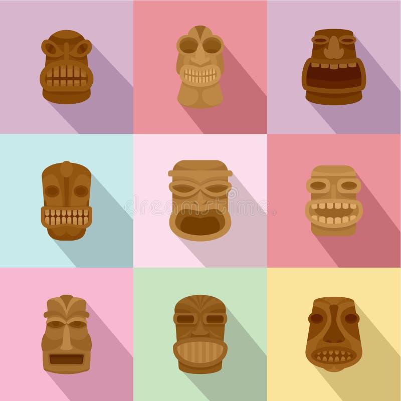 Afrykanin maskowe ikony ustawiać, mieszkanie styl ilustracji