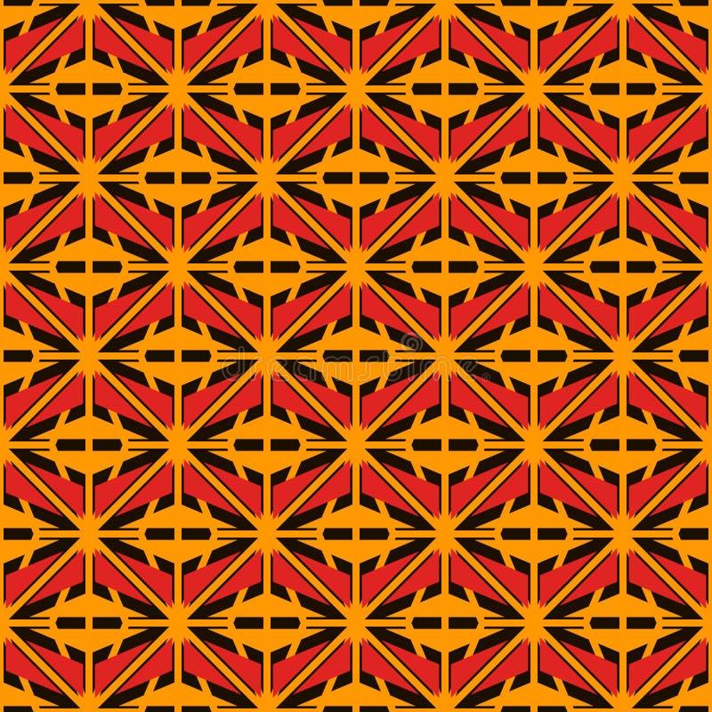 Afrykanin powierzchni stylowy bezszwowy wzór z abstrakcjonistycznymi postaciami Jaskrawe etnicznej i plemiennej druk siatki geome royalty ilustracja