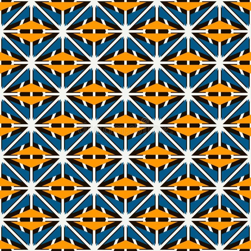 Afrykanin powierzchni stylowy bezszwowy wzór z abstrakcjonistycznymi postaciami Jaskrawe etnicznej i plemiennej druk siatki geome ilustracja wektor
