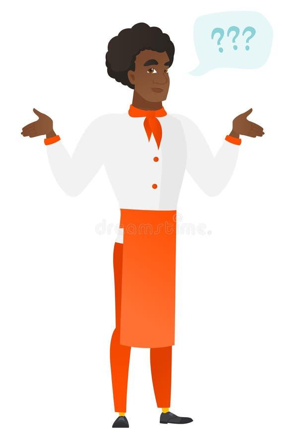 Afrykanin wprawiać w zakłopotanie szefa kuchni kucharz z rozciągniętymi rękami royalty ilustracja