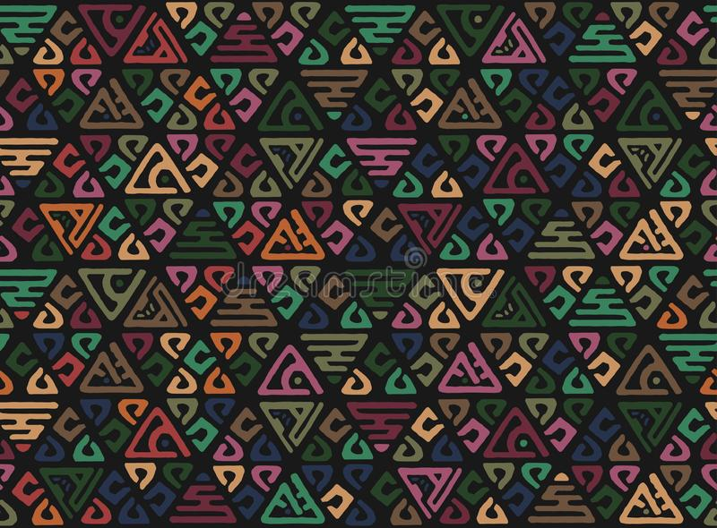 afrykanina bezszwowy deseniowy Etniczny boho ornament na dywanie Azteka styl Postaci plemienna broderia Indianin, meksykanin, lud royalty ilustracja