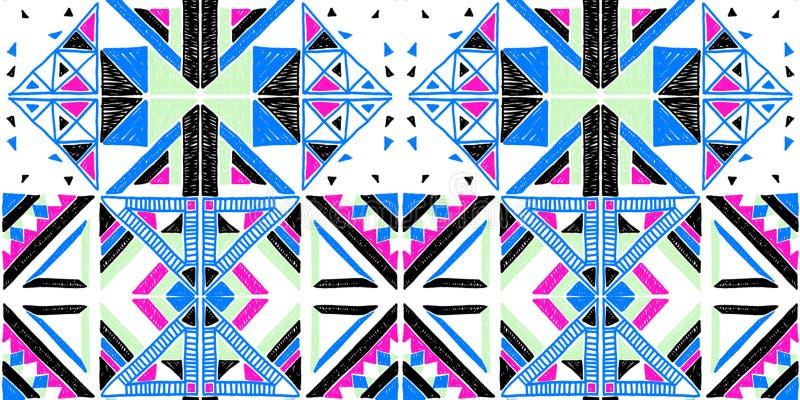 afrykanina bezszwowy deseniowy Etniczny ornament na dywanie Azteka styl Postaci plemienna broderia Indianin, meksykanin, ludu wzó ilustracja wektor