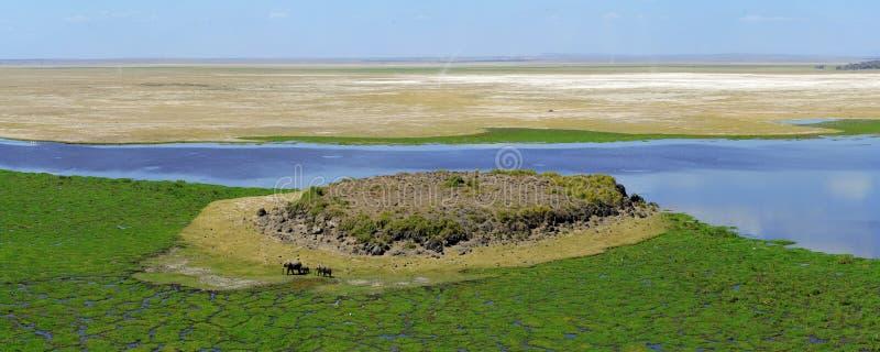 Afrykanina krajobraz z jeziorem obraz royalty free