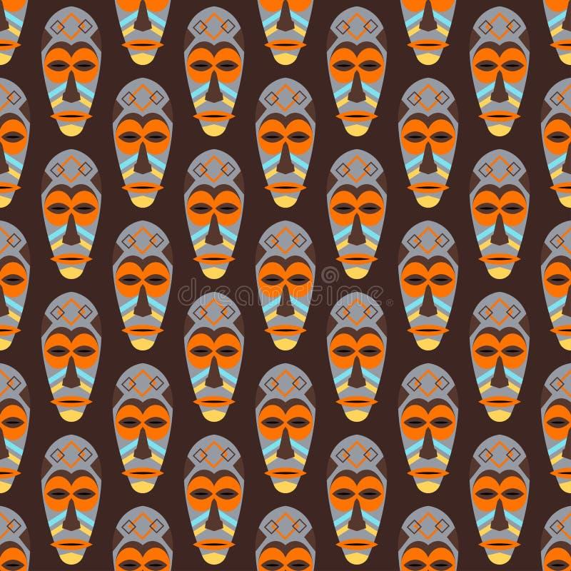 Afrykanina maskowy wektorowy bezszwowy wzór