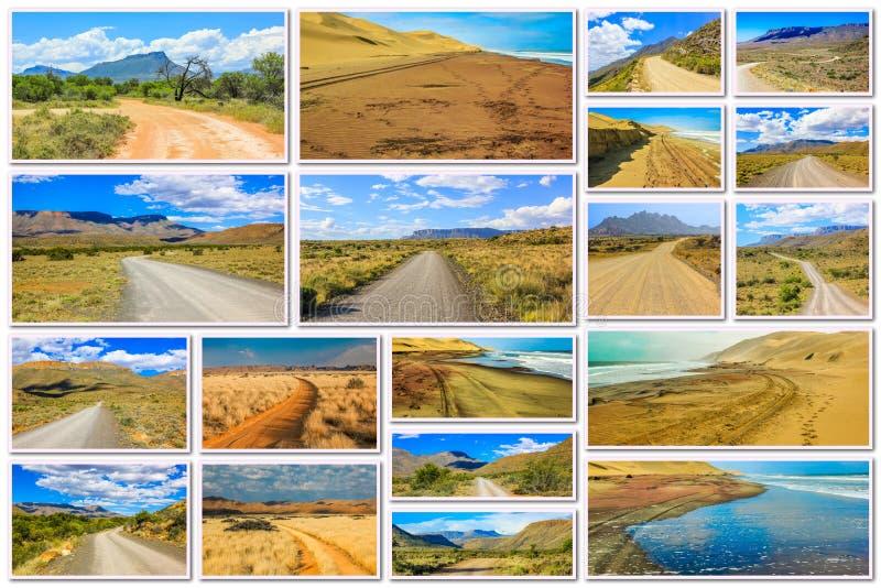 Afrykanina pustynny drogowy kolaż fotografia royalty free