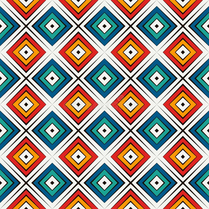 Afrykanina stylowy bezszwowy wzór w jaskrawych kolorach Etniczny i plemienny motyw Częstotliwy rhombuses abstrakta tło ilustracja wektor