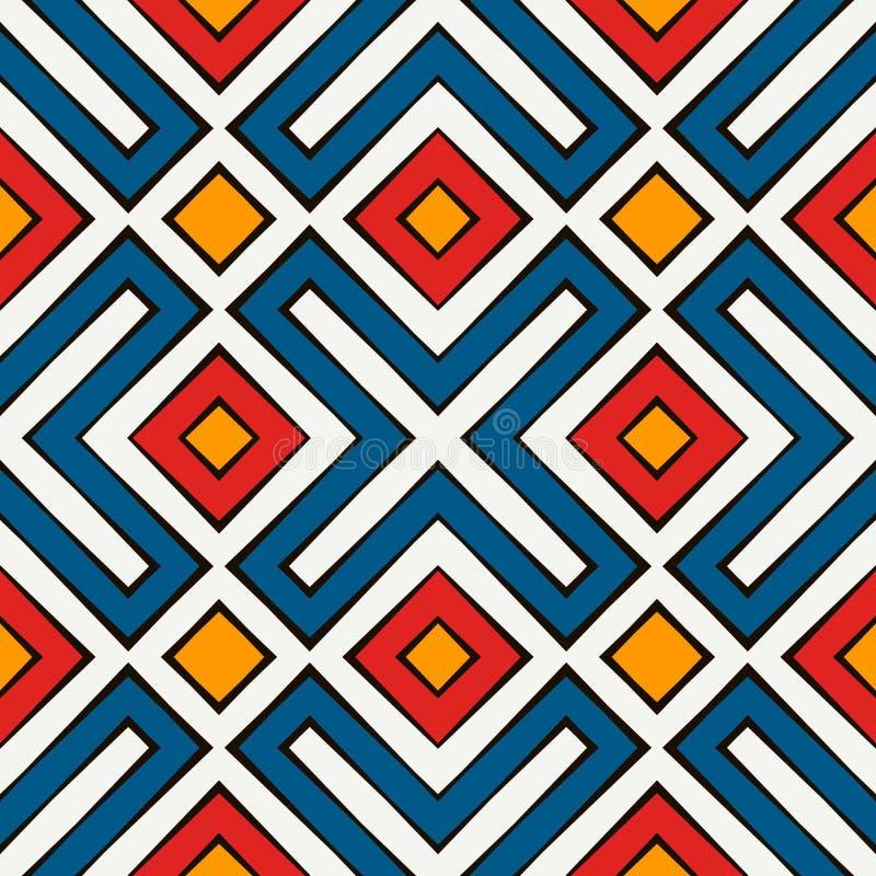 Afrykanina stylowy bezszwowy wzór w jaskrawych kolorach Etniczny i plemienny motyw Częstotliwy rhombuses abstrakta tło royalty ilustracja