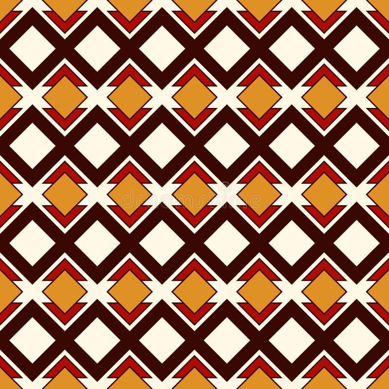 Afrykanina stylowy bezszwowy wzór z geometrycznymi postaciami Częstotliwy diamentowy ornamentacyjny abstrakcjonistyczny tło Etnic ilustracji