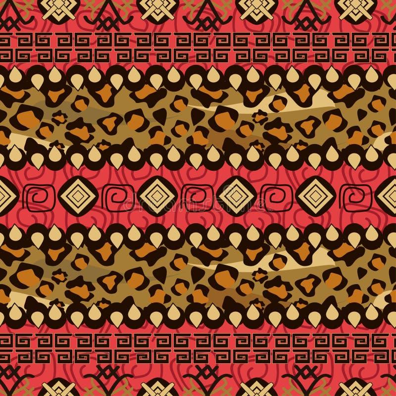 Afrykanina stylowy bezszwowy z gepard skóry wzorem ilustracji