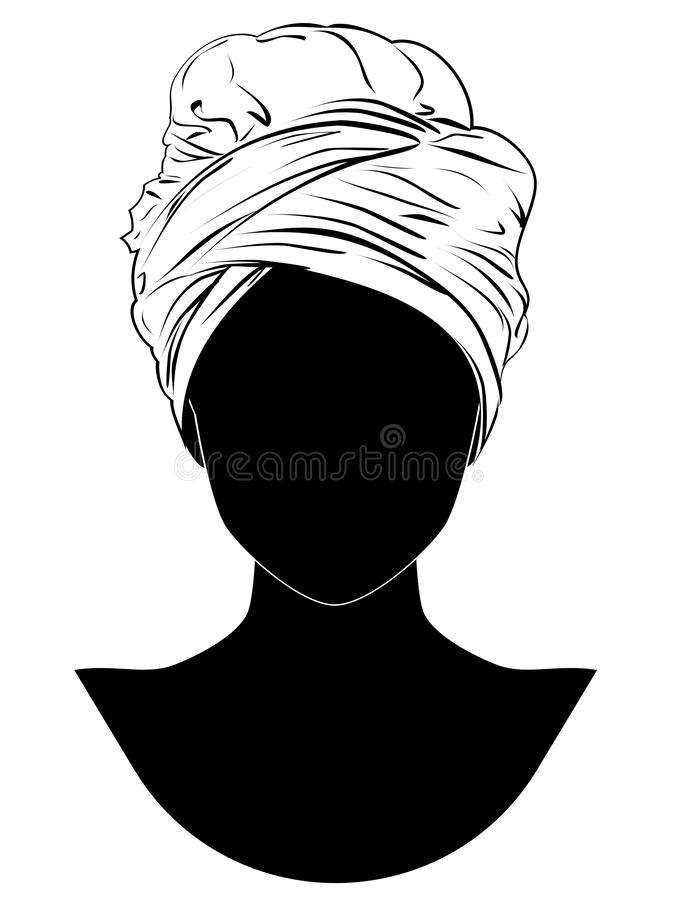 Afrykanina stylowy turban ilustracji