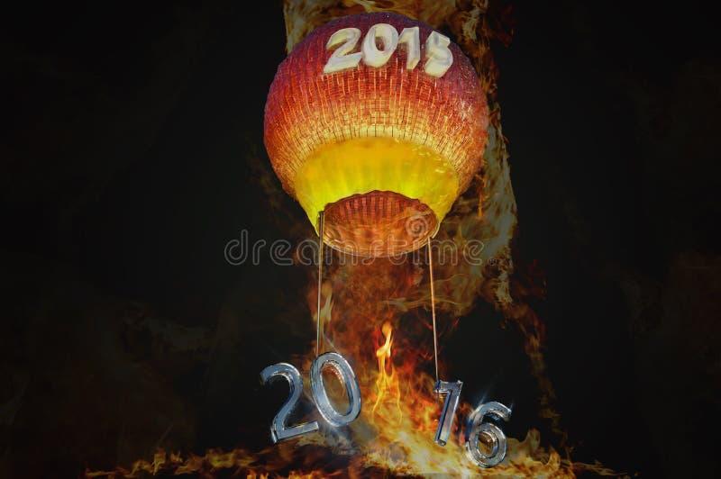 Afscheid tot 2015 Onthaal 2016 stock illustratie