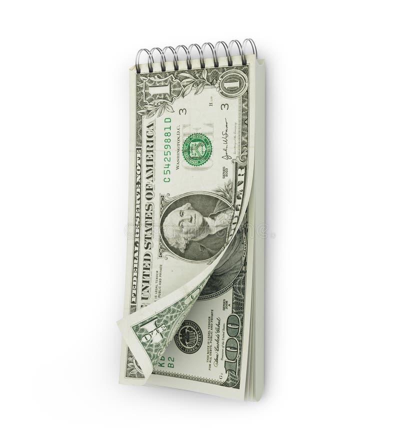 Afscheuringskalender met een dollarbankbiljet royalty-vrije stock foto's