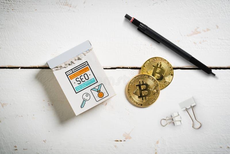 Afscheuringskalender met SEO-gebeurtenis en bitcoins stock foto