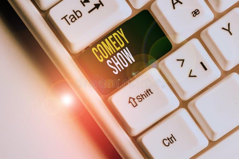 Afschrift tekst schrijven Comedy weergeven Begrip betekent Funny Program Humoureuze Amusing medium of Entertainment White pc royalty-vrije illustratie