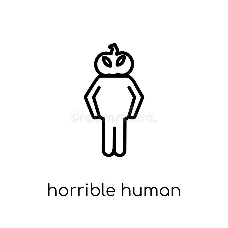 afschuwelijk menselijk pictogram In modern vlak lineair vector afschuwelijk h stock illustratie