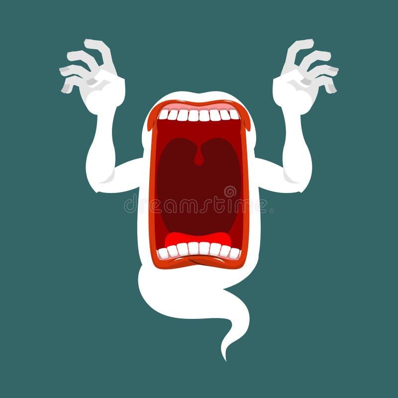 Afschuwelijke verschijning angstaanjagende schreeuwen Enge spookschreeuwen phasing stock illustratie