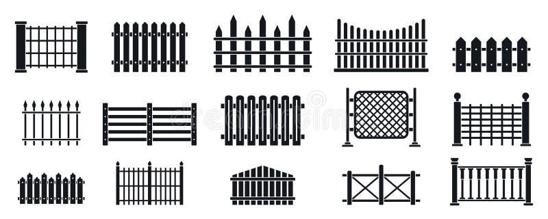 Afsluitpictogrammen ingesteld, eenvoudige stijl stock illustratie