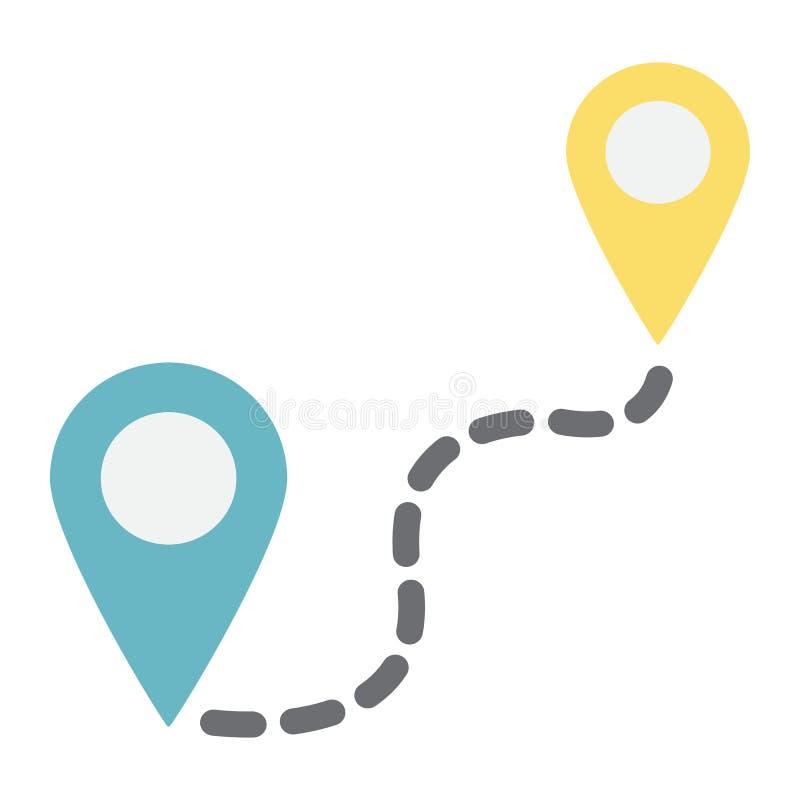 Afstands vlak pictogram, navigatieroute, kaartwijzer stock illustratie