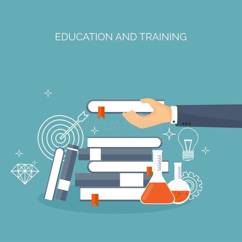 Afstandsonderwijs, het leren Online cursussen en Webschool Kennisinformatie Studieproces Onderwijsbeheer stock illustratie