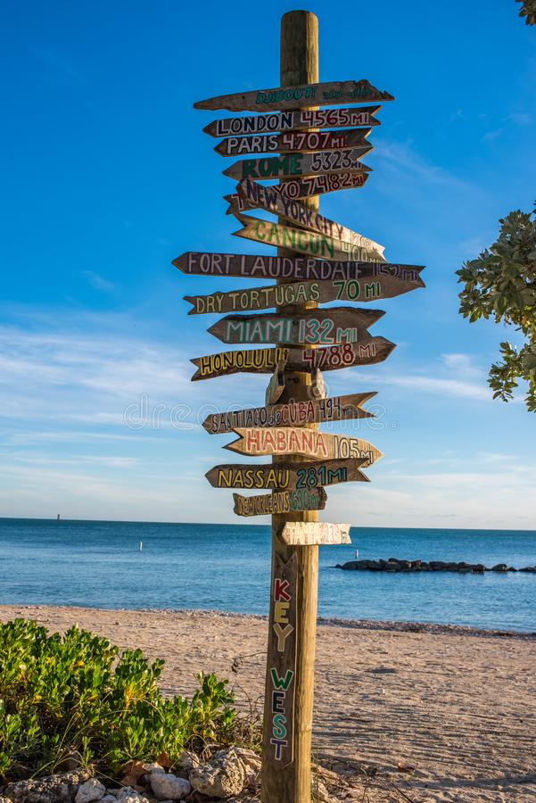 Afstandsteller in Key West royalty-vrije stock foto