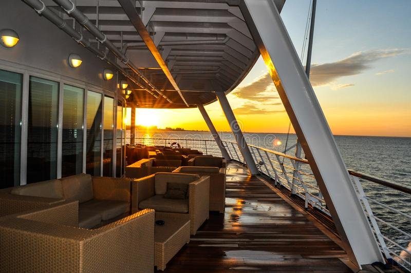 Back deck of cruise ship royalty free stock images